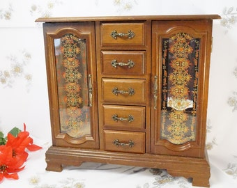 Large Jewelry Box/Wooden/Jewelry Armoire/With Draws/Doubled Door/Jewelry