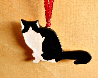 Ceramic Black-White Cat Ornament - Handmade Stoneware B&W Cat Ornament - Christmas Holiday Decoration - Ready To Ship