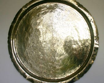 Large Engraved Indian Brass Tray or Platter