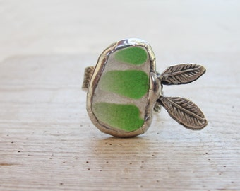 Organic Beach Pottery Ring Lime Green with Leaves