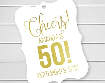 Cheers Birthday Party Tags, Foiled Favor Tags, Gold Foil Birthday Favor Tags (EC-384-F)