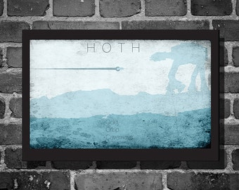 Star Wars Hoth movie poster minimalist poster star wars art travel poster