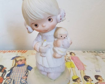 Vintage Kitsch Precious Moments little girl with doll and candle ceramic figurine nursery decor baby shower pastel cake topper