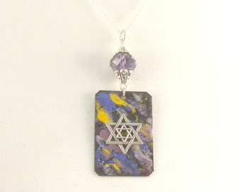 Copper Enameled Star of David Pendant with Matching Crystal Earrings - Van Gogh's Colors