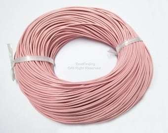 2mm Light Pink Round leather cord Genuine smooth 2mm leather cording