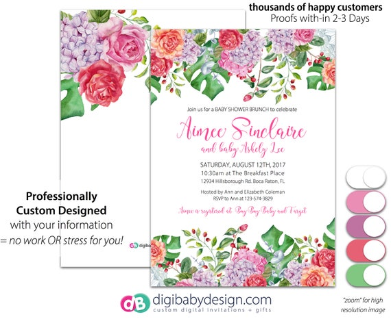 Tropical floral baby shower invitation baby shower brunch like this item negle Gallery