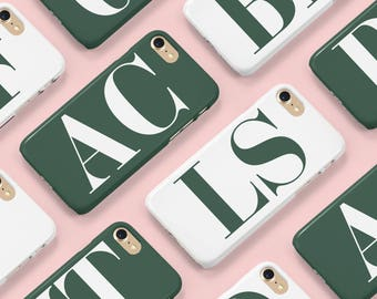 Initial phone case in British racing green with white initials for iPhone and Samsung phones