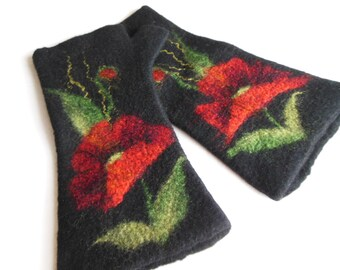 Felted mittens , Hand felted fingerless mittens, felted long gloves, felted wirst warmers,black with poppy gloves,  mittens