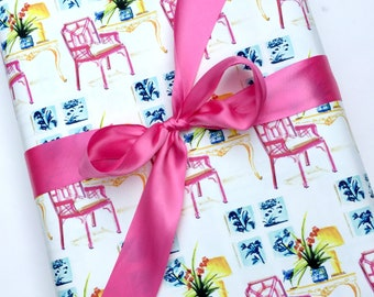 Lilly Pulitzer Paper Wrapping Paper Roll Gift Wrap Pink Gift Wrap Roll Chippendale Chair All Occasion Shann Spishak Studio Original Design