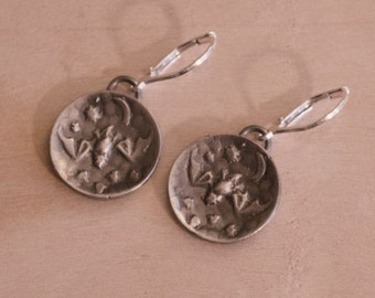 Bat Diving for Moths, Sterling Silver Earrings with Lever-Back Earwires