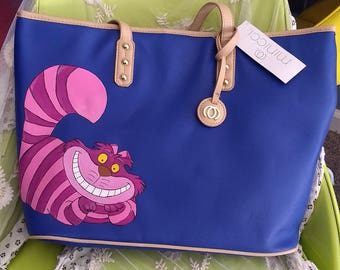 Hand Painted Alice in Wonderland Cheshire Cat Purse Disney Tote Bag