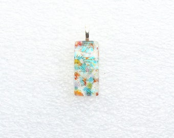 """Fused Dichroic Glass Pendant, Layered Mosaic Design, 1/2"""" x 1 1/8"""" Cabochon, Opaque, Layers of Blue, Green, Pink, Turquoise, Orange, Red"""