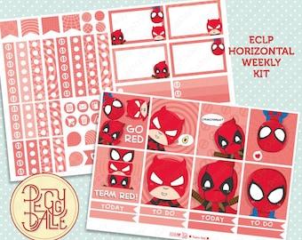 Team Red Weekly Kit Planner Stickers | Erin Condren Horizontal | Deadpool | Daredevil | Spiderman | Superheroes