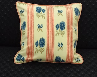 Floral and Striped Accent Pillow Cover
