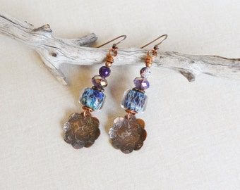 Maï.Shibuichi,Copper Blossoms Earrings,Beautiful Purple Violet,Rustic,Urban Chic,Bijoux,Pantone Color,Yeelen Spirit, Artisan Earrings