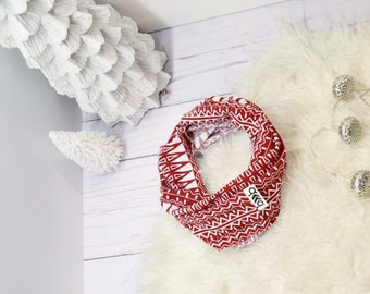 Red and white tribal print infinity scarf
