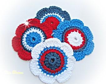 Crochet Flowers ref: X152(4 flowers)