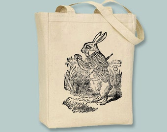 Alice in Wonderland White Rabbit with Watch Illustration Canvas Tote -- Selection of sizes available, image in ANY COLOR