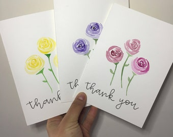 Handmade Thank You Card - Watercolor Roses