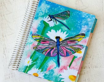 Coil Bound Planner Cover - Laminated Planner Cover - ECLP Compatible - Dragonfly Planner - Watercolor Planner Cover - Fits Erin Condren