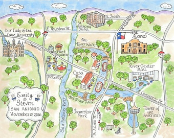 Wedding Map -Watercolor Map of San Antonio, Texas
