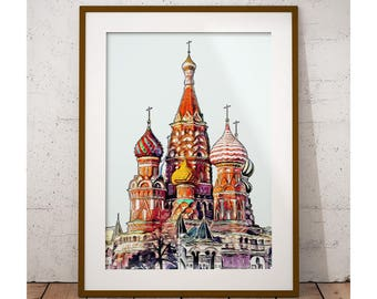 Moscow Printable Art , Saint Basil's Cathedral, Moscow Onion Domes, Moscow Poster, Russia Art Print, Travel Print, Instant Download Wall Art