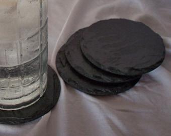 Drink Coasters, Slate Coasters, Black, Round