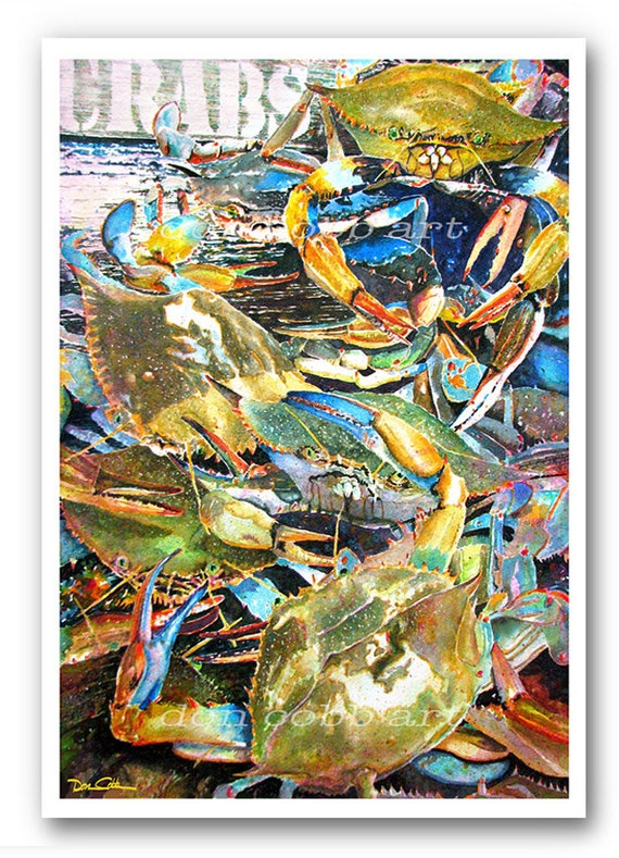 Maryland Crabs 13x19 Live Blue Crabs Art