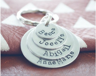 Family Name Keychain Personalized - Gift for Dad Christmas - Dad Stocking Stuffers for Men - Hand Stamped Keychain for Women - Gift for Mom