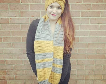 Crochet Mixed Stripes Infinity Scarf - Sungold and Greybeard
