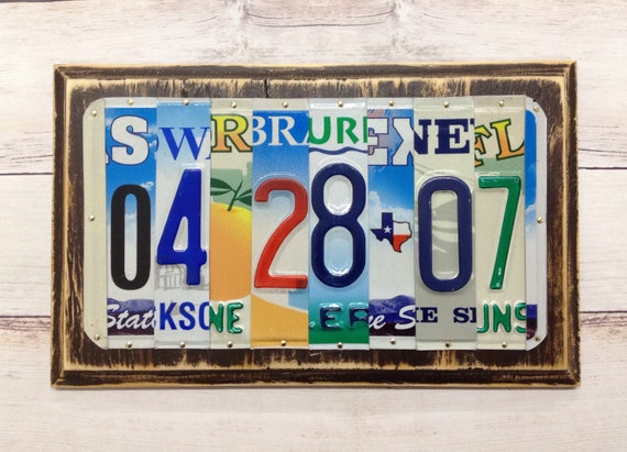 Year anniversary gift license plate date sign gift of tin