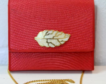 Red vintage 60s straw wallet