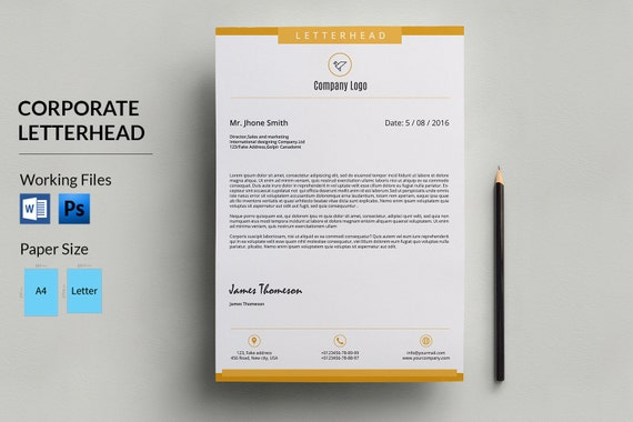 Corporate Letterhead Template Business Letterhead Company