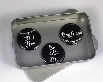 Boyfriend Valentine Love Gift Greeting Card Alternative Will You Be My Boyfriend Magnet Gift Set with Gift Tin Handmade Keepsake Momento