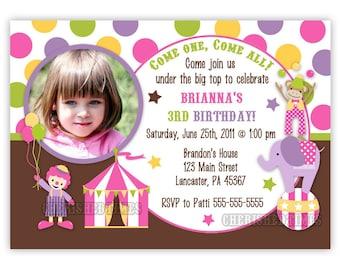 Stripes or Dots Circus/Carnival Birthday Girl Invitation (You Print)