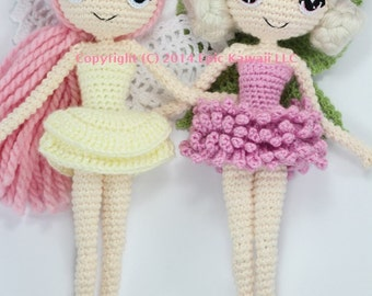 PATTERN 2-PACK: Althaena and Chrysanna Fairy Crochet Amigurumi Dolls