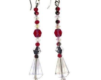 "Earrings : 925 Sterling silver , Crystal and Swarovski elements ""Sparkling Wonder"""