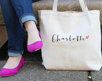 Personalized Heart Tote Bag // Bridesmaid Name with Heart Personalized Tote Bag Custom Bridesmaid Canvas Bag // Wedding Gift Tote Bag TB001