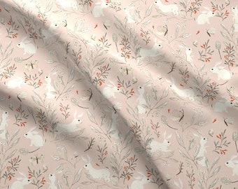 Botanical Bunnies Fabric - Bunnies Pink By Katherine Quinn - Bunnies Rabbits Floral Flowers Pink Cotton Fabric By The Yard With Spoonflower