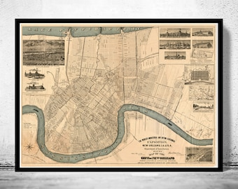 Old Map of New Orleans 1884 antique map