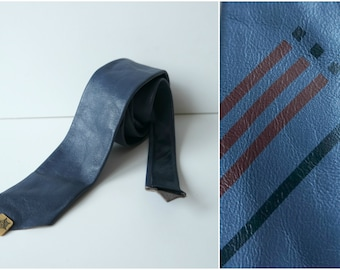 Vintage Blue Leather Skinny Tie,  Navy Blue Leather Necktie, 1980s