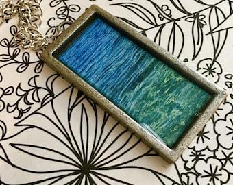 Tahoe Blue Rectangular Pendant Necklace