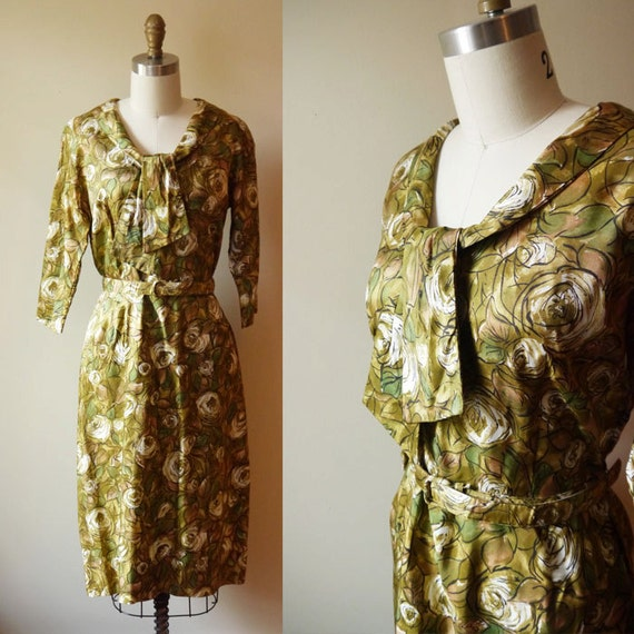 1960s Green Autumn Floral Dress // Fashion Flair // vintage dress