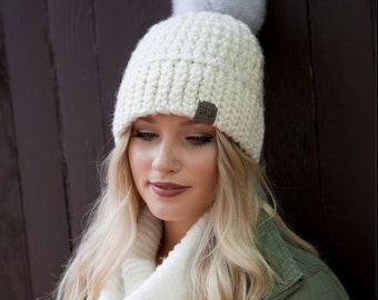 Canada Bliss NEW Signature Pom Pom Hat, Crochet Super Chunky Merino Toque - Choose from Multiple Colours