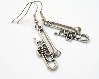 Trombone Earrings, Personalized Earrings, Music Charm Jewelry, Musical Instrument Earrings, Trombone Jewelry, READY To SHIP, Antiqued Silver
