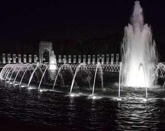 World War II WWII Monument from National Mall in Washington DC High Resolution Print Photo
