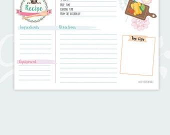 Recipe Card Shower Recipe Card Kitchen Recipe Card - Instant Download Recipe watercolour pastel colors