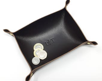 Leather Coin Tray, Leather Valet Tray, Leather Tray, Gifts For Him, Gifts For Her, Father's Day Gift