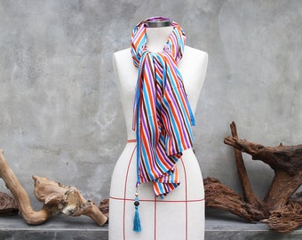 Retro stripes purple turquoise orange brown cotton weighted scarf with blue tassel charm
