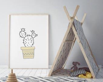 Cactus Nursery Print, Kids Room Wall Art, Boys And Girls Bedroom, Wall Art, Prints Black & White, Nursery Wall Art, Cactus Nursery Wall Art